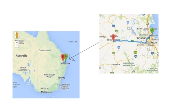 The drive from Brisbane to Toowoomba to put it in perspective for overseas readers. It took about 2.5 hours with a short snacks break!